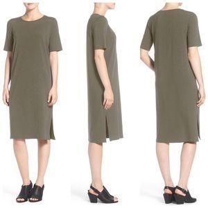 Eileen Fisher Green jersey knit midi T-shirt dress